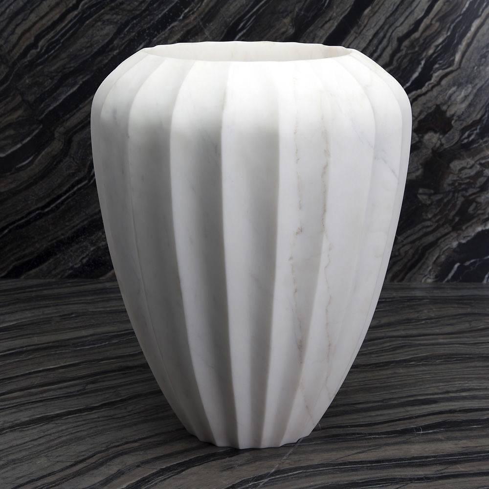 Fluted Marble Vase L - White Calacatta