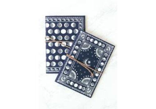 Moonphase Bandana Duo, Navy 2 Fabric Journals