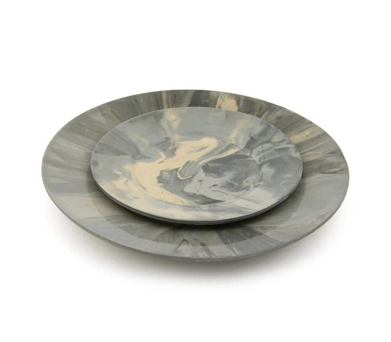 Edge Wood Salad Plate | Marble Gray