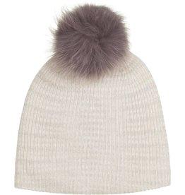 Cashmere Spacedye Fur Pom Pom Rib Beanie, White