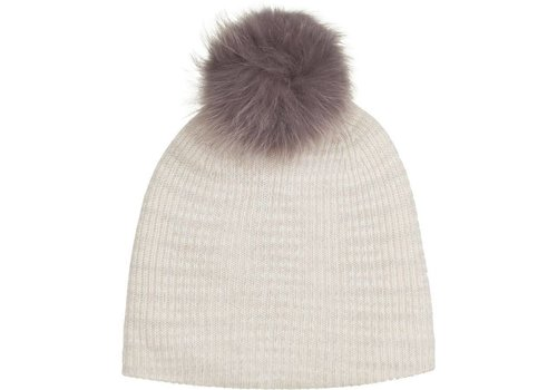 Cashmere Fur Pom Pom Rib Beanie | White