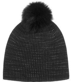 Cashmere Spacedye Fur Pom Pom Rib Beanie, Black