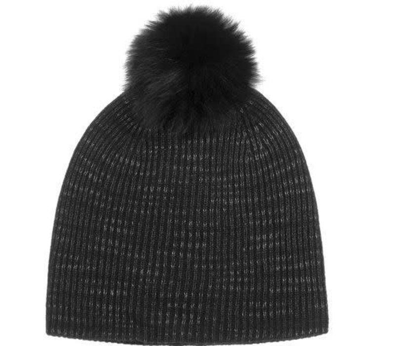 Cashmere Fur Pom Pom Rib Beanie | Black