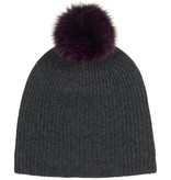Cashmere Spacedye Fur Pom Pom Rib Beanie, Charcol, Plum