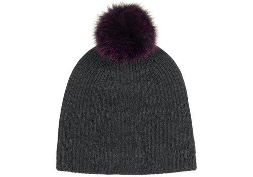 Cashmere Fur Pom Pom Rib Beanie | Charcoal + Plum