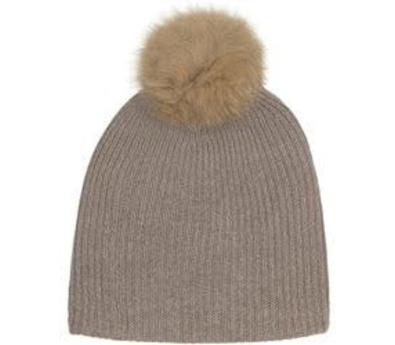 Cashmere Fur Pom Pom Rib Beanie | Mocha