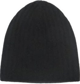 Cashmere Plush Rib Beanie, Black