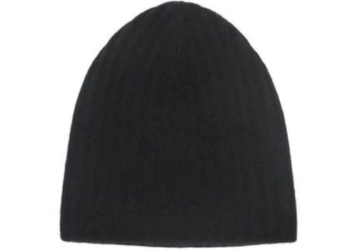 Cashmere Plush Rib Beanie | Black