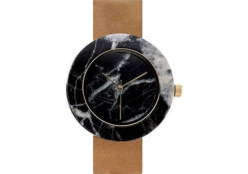 Marble Circle Mason Watch | Black, Tan