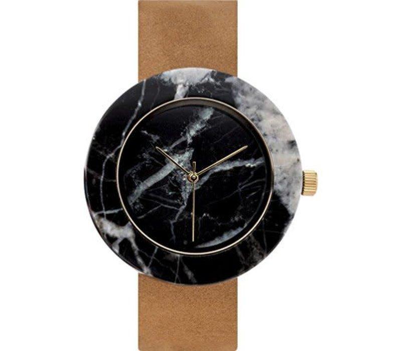 Marble Circle Mason Watch, Black, Tan