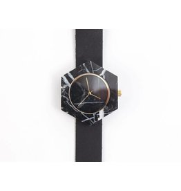 Marble Hex Mason Watch | Black, Black