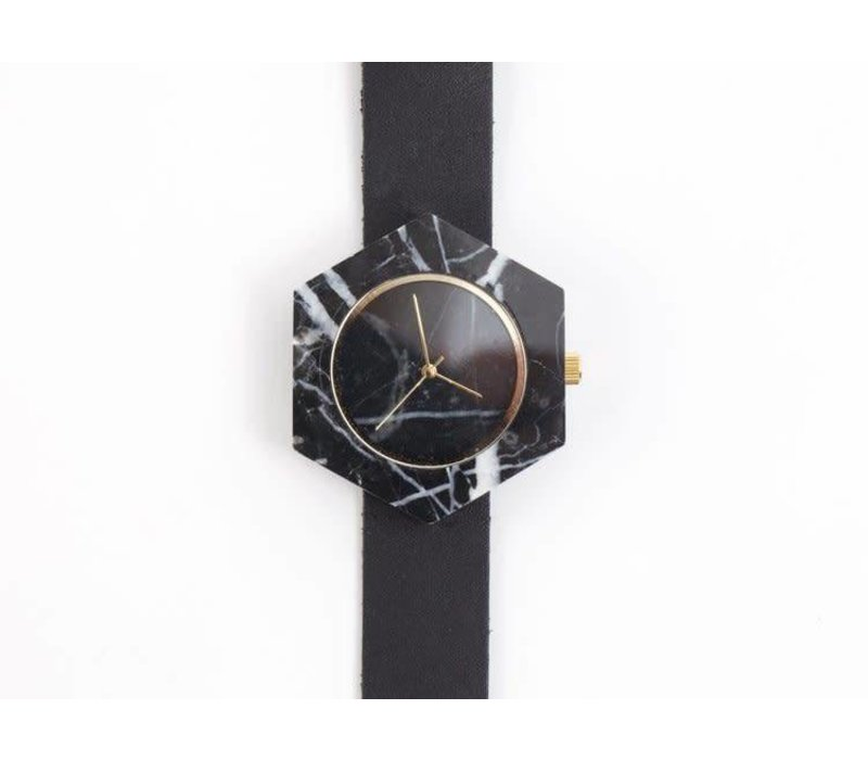 Marble Hex Mason Watch | Black, Black