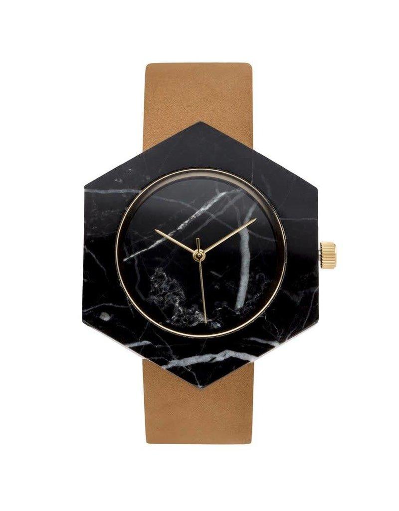 Marble Hex Mason Watch | Black, Tan