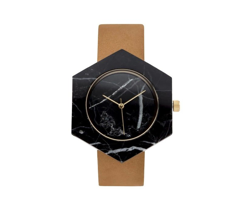 Marble Hex Mason Watch | Black, Tan