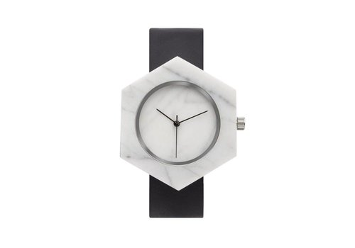 Marble Hex Mason Watch | White, Black