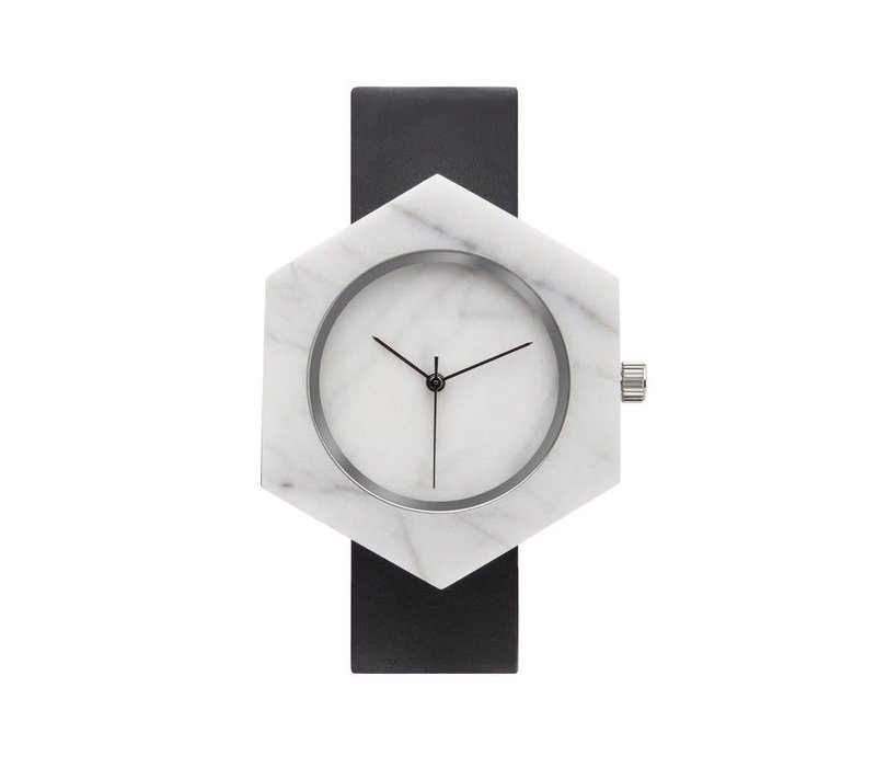 Marble Hex Mason Watch | White, Black