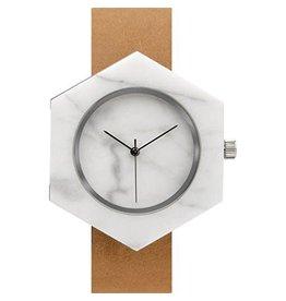 Marble Hex Mason Watch | White, Tan