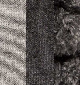 Alpaca Reversible Pom Pom PIllow, Charcoal & Light Grey