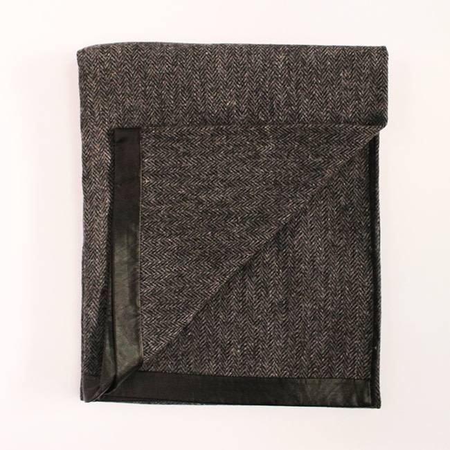 Charcol Tweed Throw, Leather
