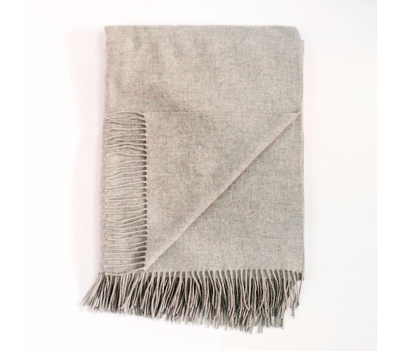 Cashmere Woven Throw | Oat + White