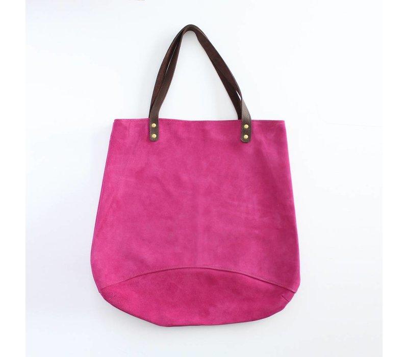 Suede Feed Bag, Fushia