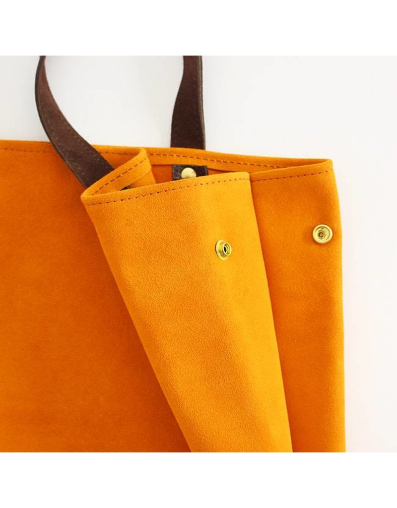 Suede Feed Bag, Gold