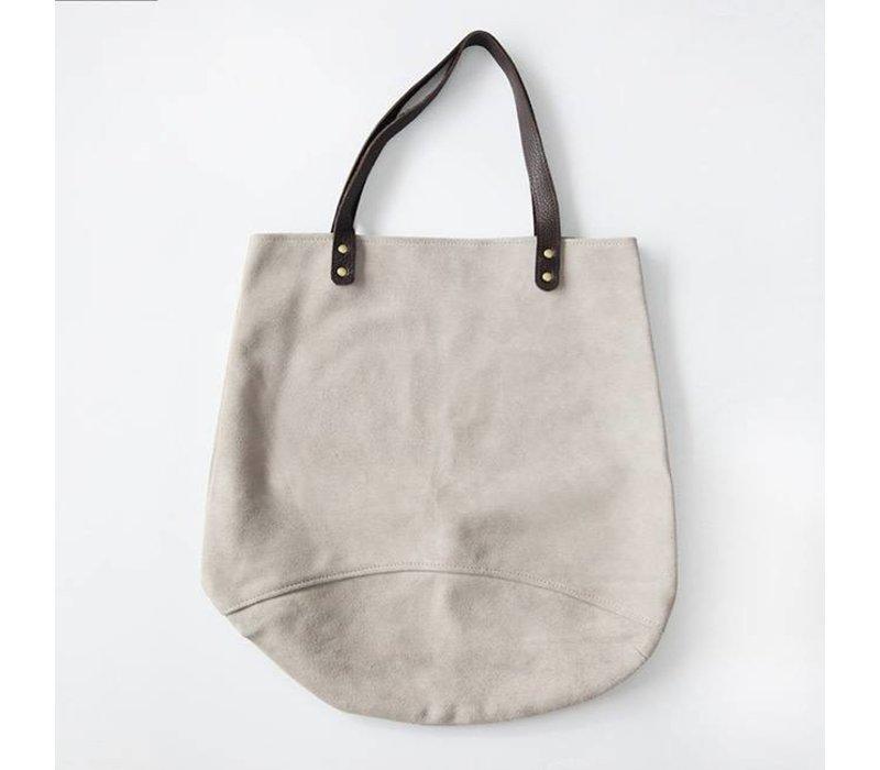 Suede Feed Bag, Light Grey