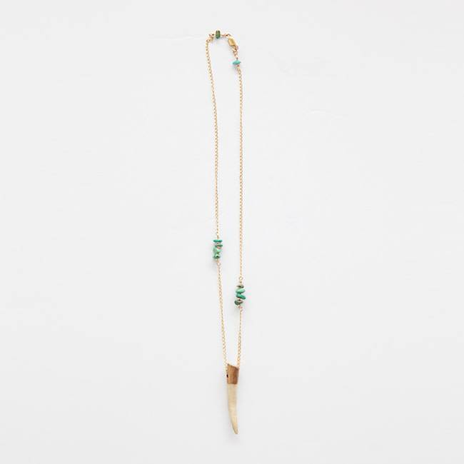 Antler Necklace, Gold + Jade