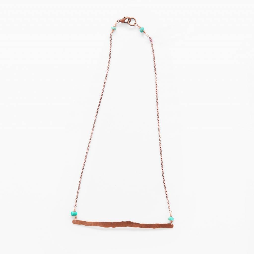 Cannelita Bar Necklace, Copper + Jade