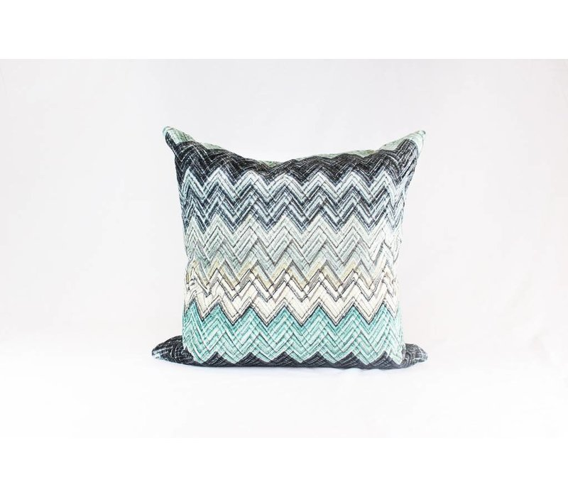 Teal Appeal Chevron Pillow   Teal + Black