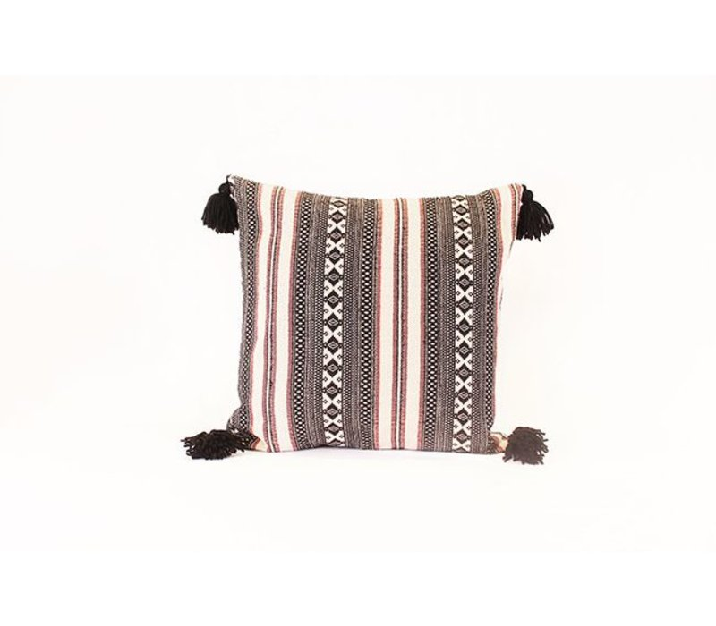 People Tassel Pillow | Black + Red + White