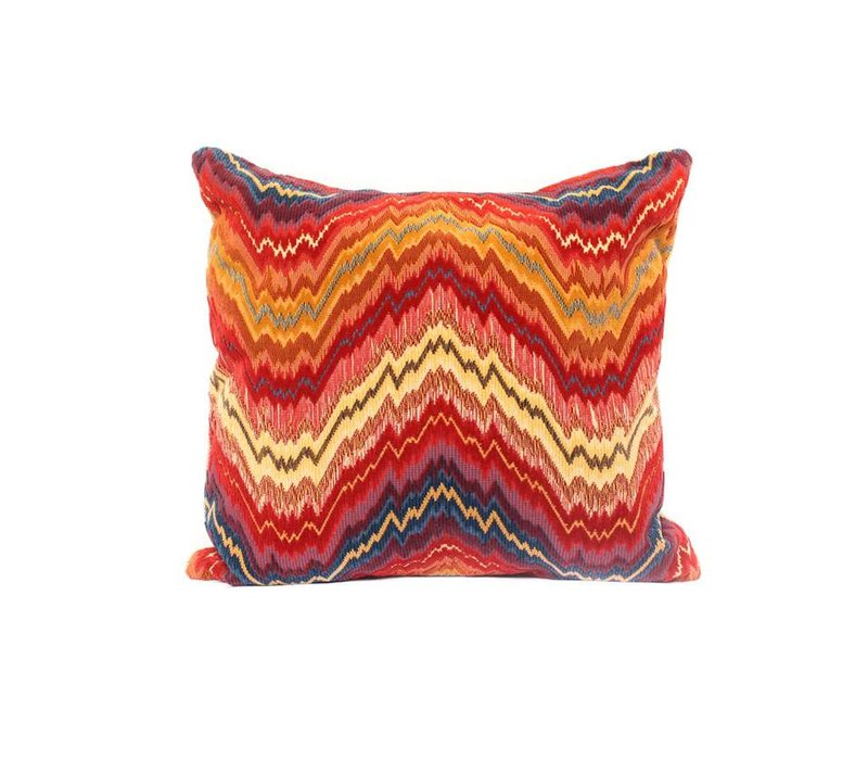 Flamestitch Pillow | Red + Gold