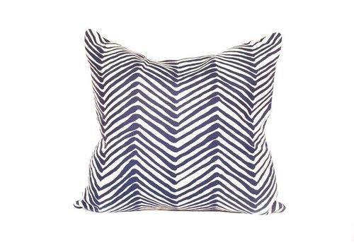 Zebra Pillow | Navy Blue + White