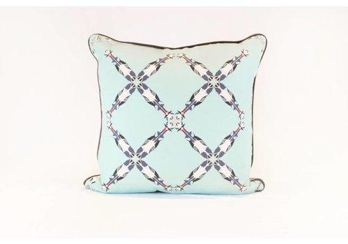 Cattle Pattern Pillow | Blue + Teal