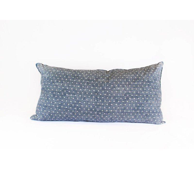 Triangles Pillow | Lumbar | Blue + Tan