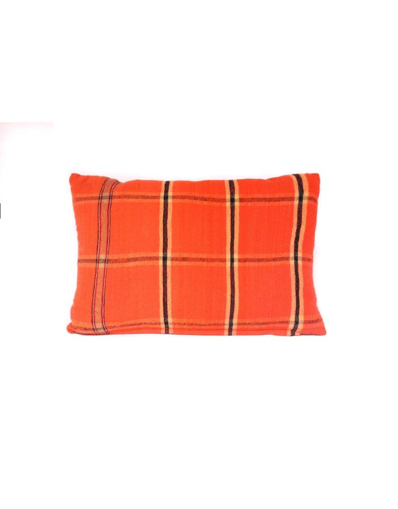 Lodge Pillow | Orange Plaid + Wool | Small