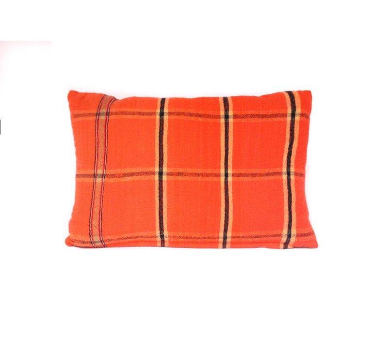 Lodge Pillow | Orange Plaid + Wool | Small