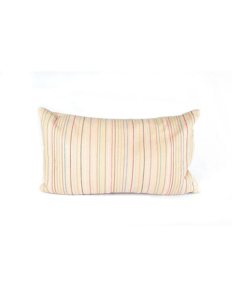 Leather Lines Pillow   Lumbar   Nude + Multicolor