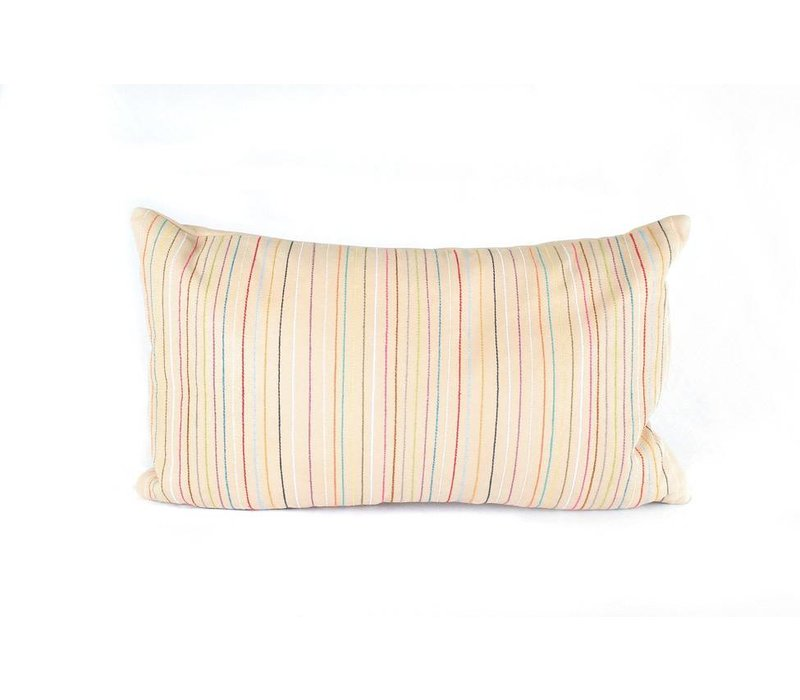Leather Lines Pillow | Lumbar | Nude + Multicolor