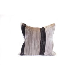 Ombre Pillow | Charcoal Velvet + Taupe + Cream
