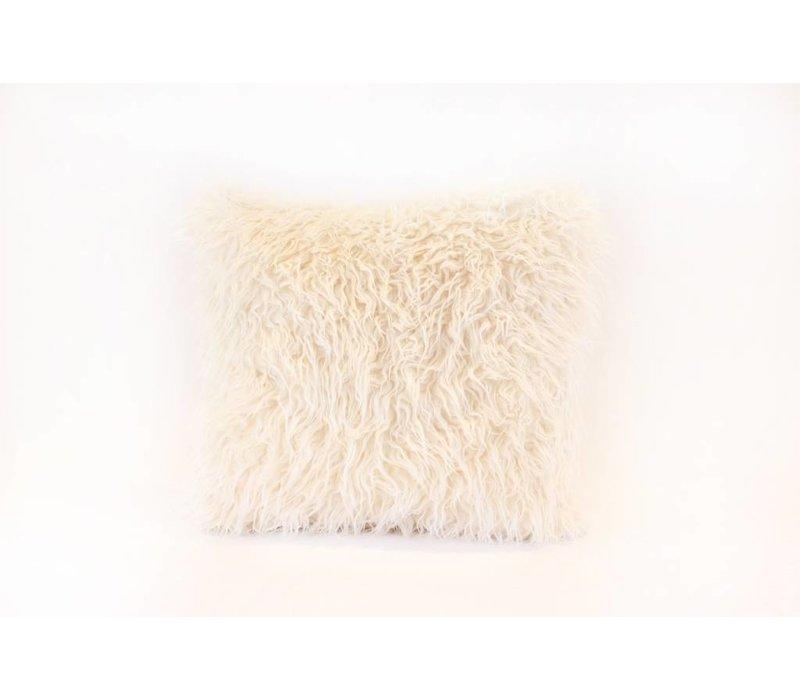 Faux Fur Pillow   White