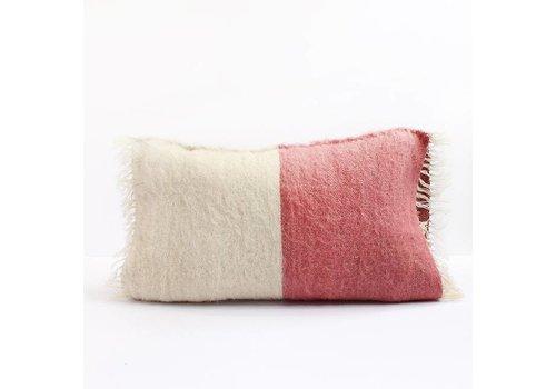 Saraka Wool Cushion | Rose + Natural | 13 x 22