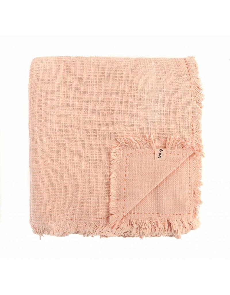 Textured Cotton Blanket   Melon   84 x 84