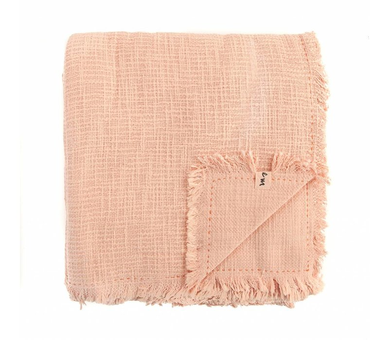 Textured Cotton Blanket | Melon | 84 x 84