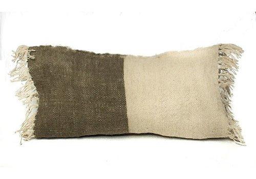 Saraka Wool Cushion | Olive + Natural | 13 x 22