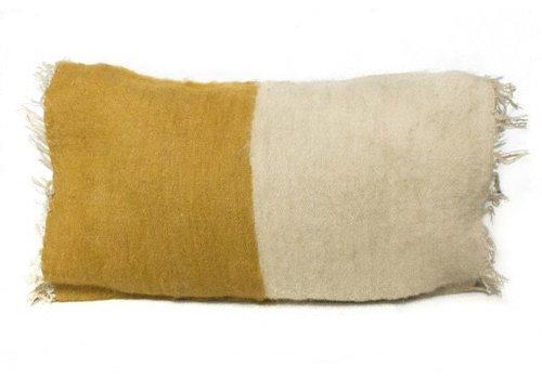 Saraka Wool Cushion | Mustard + Natural | 13 x 22