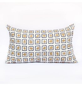 Stencil Pillow | Gold + White