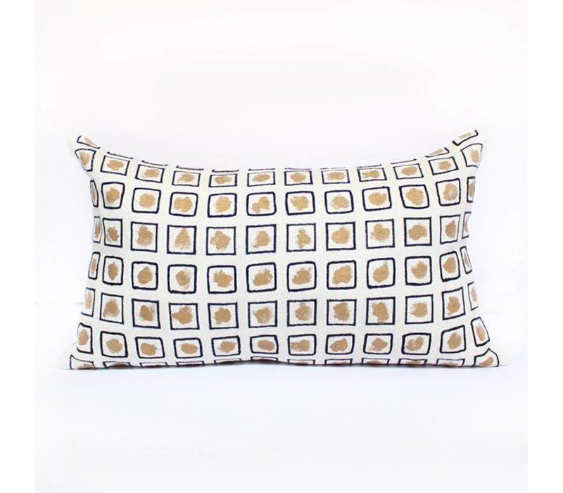 Stencil Pillow   Gold + White