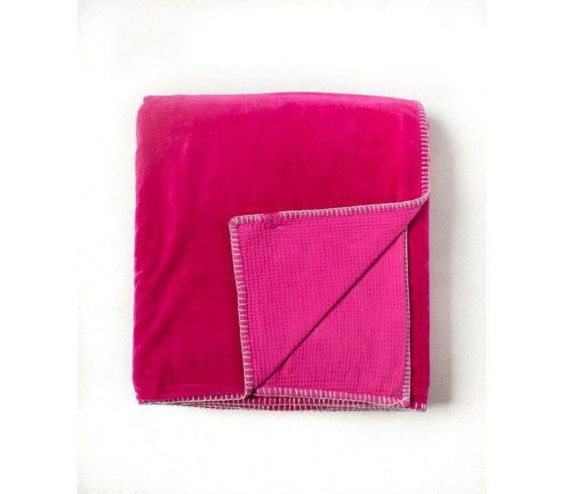 Velvet Waffle Blanket | Fushia | 84 x 84