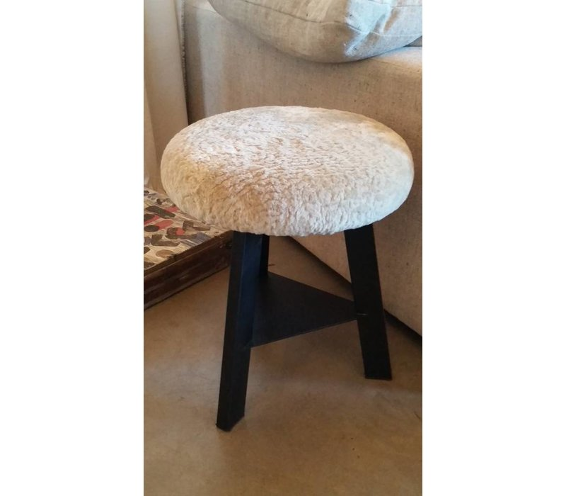 Black Steel +  Shearling Swivel Stool
